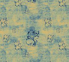 Dark Blue Butterflies on Grunge by pjwuebker