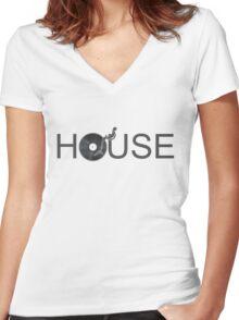 House Vinyl - Music Turntable DJ Women's Fitted V-Neck T-Shirt