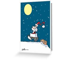 Chimney Bound Santa Greeting Card