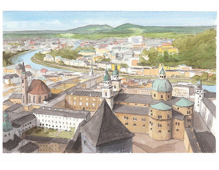 Salzburg watercolor by Mike Theuer