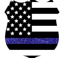 Thin Blue Line Police Flag Badge with Blue Glitter  by Chandler Milillo