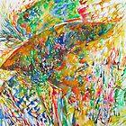 JIMI HENDRIX with HAT - watercolor profile portrait by lautir