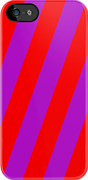 Iphone Case - Red & Purple - Broad diagonal Stripes by chompo