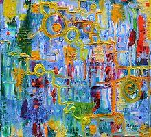 Nonlinear Computation, Original Abstract Oil Painting by Regina Valluzzi by Regina Valluzzi