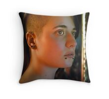 shaved head Throw Pillow