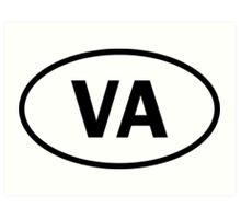 Virginia - VA - oval sticker and more Art Print