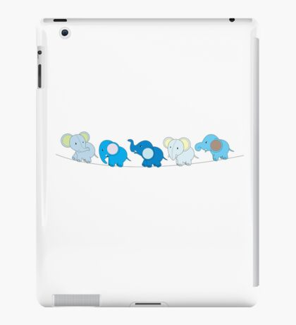 5 Blue Elephants iPad Case/Skin