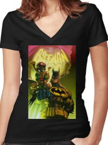 Bat Attack Women's Fitted V-Neck T-Shirt