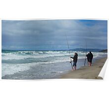 Fishermen at Te Arai Surf beach Poster