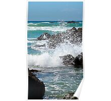 Waves splashing at Te Arai Surf Beach Poster