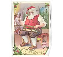 A Vintage Merry Christmas Santa Claus in his Workshop Poster