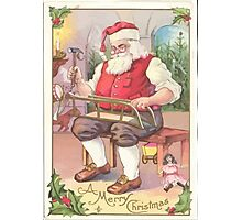 A Vintage Merry Christmas Santa Claus in his Workshop Photographic Print