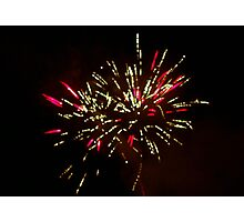 Red and Green Fireworks in the sky at Tomarata Photographic Print