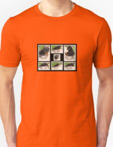 Collage Of Puppy Rottweiler Sitting In Food Bowl Unisex T-Shirt