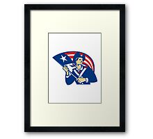 American Patriot Minuteman With Flag Retro  Framed Print
