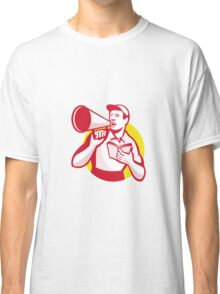 Worker with Book and Bullhorn Retro  Classic T-Shirt