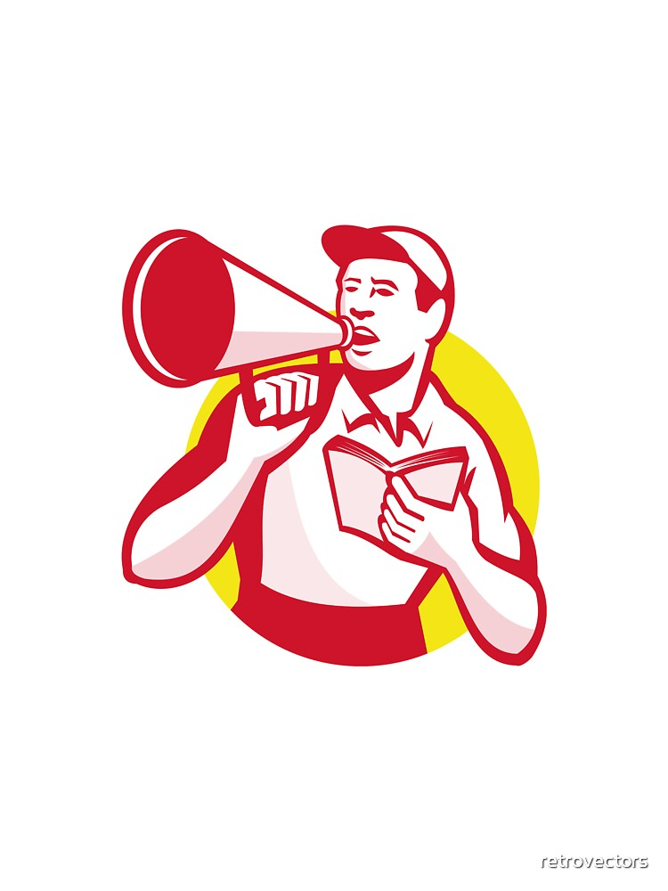Worker with Book and Bullhorn Retro  by retrovectors