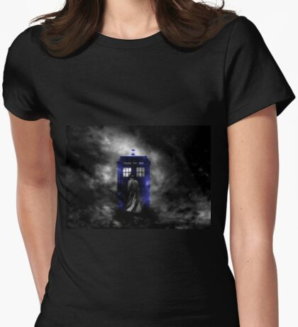The Doctor and his blue box Womens Fitted T-Shirt