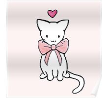 Kitten with Pink Bow Poster