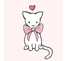 Kitten with Pink Bow Photographic Print