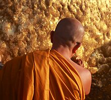 Buddhist Monk at the Golden Rock - Burma by TravelShots