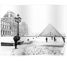 """Le Louvre in white"" (Paris) Poster"