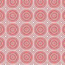 Bright Red Tile Circles With Hints of Green by pjwuebker