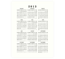 2013 Calendar Black Leters Art Print