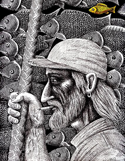 Old Fisherman surreal pen ink black and white drawing by Vitaliy Gonikman