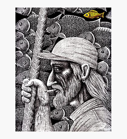 Old Fisherman surreal pen ink black and white drawing Photographic Print