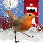 Christmas Robin Card With Post Box by Moonlake
