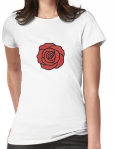 Red rose flower Womens Fitted T-Shirt