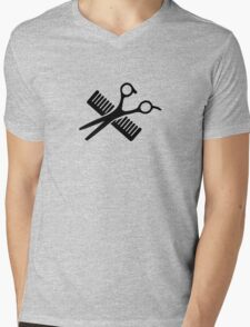 Comb & Scissors Mens V-Neck T-Shirt