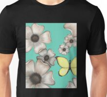 Floating Flowers with Butterfly Unisex T-Shirt