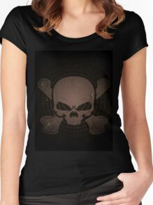 skull and crossbones appearing out of the darkness.  Women's Fitted Scoop T-Shirt