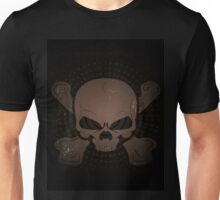 skull and crossbones appearing out of the darkness.  Unisex T-Shirt