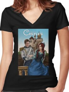 Castle's Castles Women's Fitted V-Neck T-Shirt