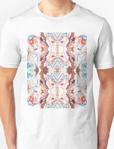 Abstract Marker Pattern - White & Orange T-Shirt