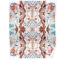 Abstract Marker Pattern - White & Orange Poster