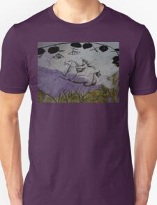 Angel riding through a lavender scene. Unisex T-Shirt