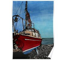 The boat - by the cliffs at Lyme Regis Poster