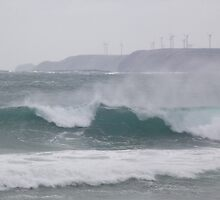 Marrawah waves, and Woolnorth windfarm turbines by gaylene