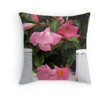 Pink Picket Fence Throw Pillow