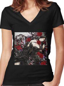 Black red Rose Women's Fitted V-Neck T-Shirt