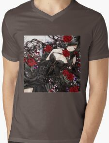 Black red Rose Mens V-Neck T-Shirt