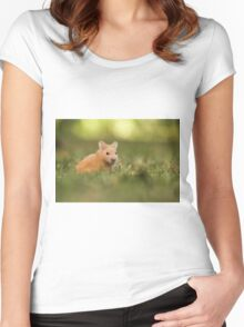 golden hamster pets on lawn Women's Fitted Scoop T-Shirt