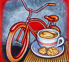 Red Electra Delivery Bicycle Cappuccino and Amaretti by markhowardjones