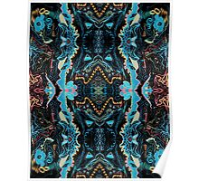 Abstract Marker Pattern - Black & Teal Poster