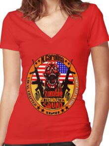 N.Carolina Zombie Extermination Squad Women's Fitted V-Neck T-Shirt