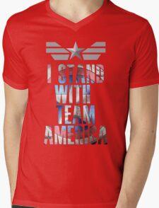 I Stand With Team America Mens V-Neck T-Shirt